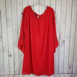 By & By Red Tubic Shift Dress Bell Sleeve Plus 3XL